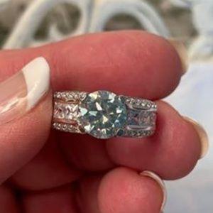 Jewelry - 1.95 Carat VVS1 Sky Blue Moissanite Ring, Size 7
